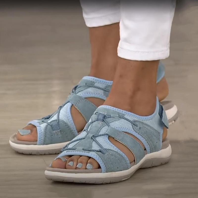 Sport Sandals Women Beach Shoes Summer Sandals Casual Flats Solid Color Open Toe Cut Out Soft Female