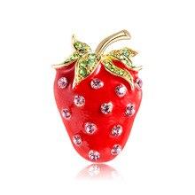 Модная брошь в форме фрукта клубники, красная эмаль, ювелирное изделие, булавки для женщин, девушек, сумка, шляпа, шарф, пряжки, аксессуары дл...