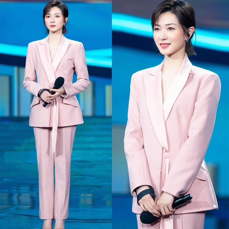 Star pink suit fashion temperament feminine design sense professional suit ol annual meeting suit women