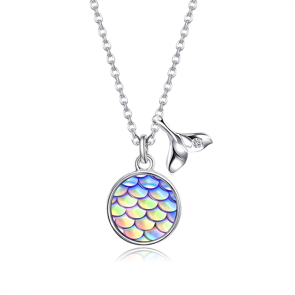 SILVERHOO S925 Sterling Silver Necklace Fish Scales Cubic Zirconia Necklace For Women Best Selling F