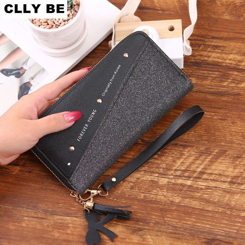 Frauen Lange Brieftasche Patchwork Pailletten Kupplung Glitter Pu Leder Damen Telefon Tasche Karte Halter Geldbörse Weibliche Geldbörsen