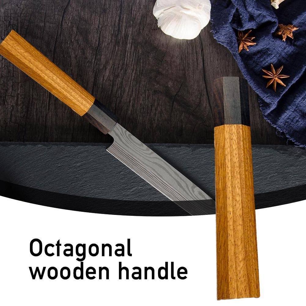 Japanese Chef Knife Handle DIY Kitchen Knives Friendly Octagonal African Accessories Making Wood Knife natural Details W2M0