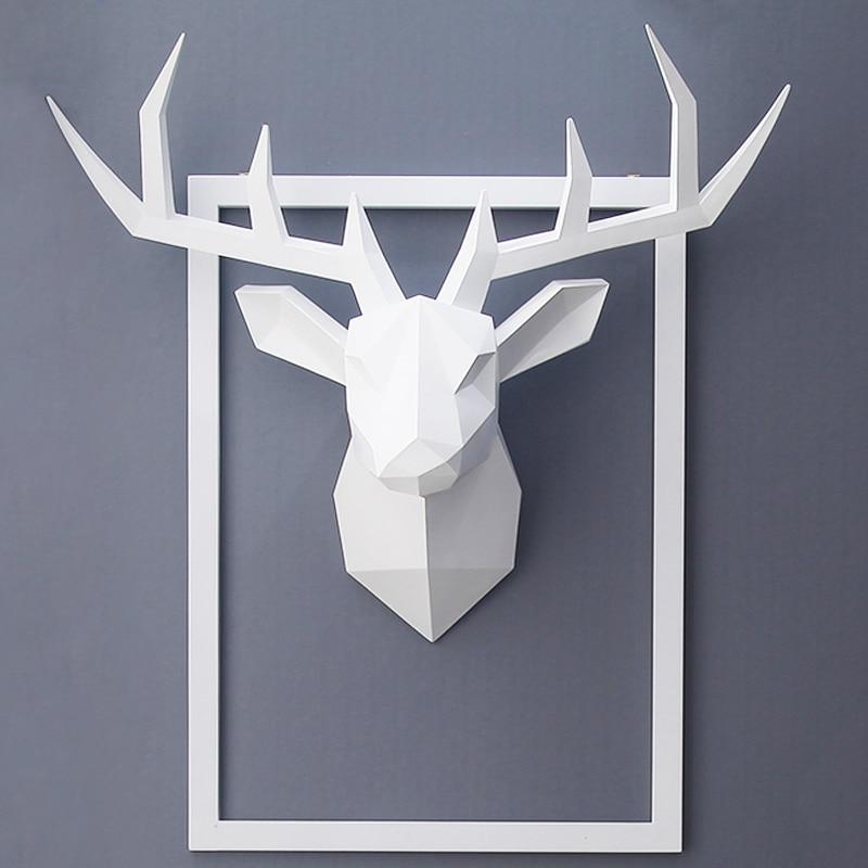 3D,Deer Head,Statue,Room Wall Decor,Sculpture,43*16*36cm,Animal Figurine Miniature,Modern Art,Home Decorations Accessories