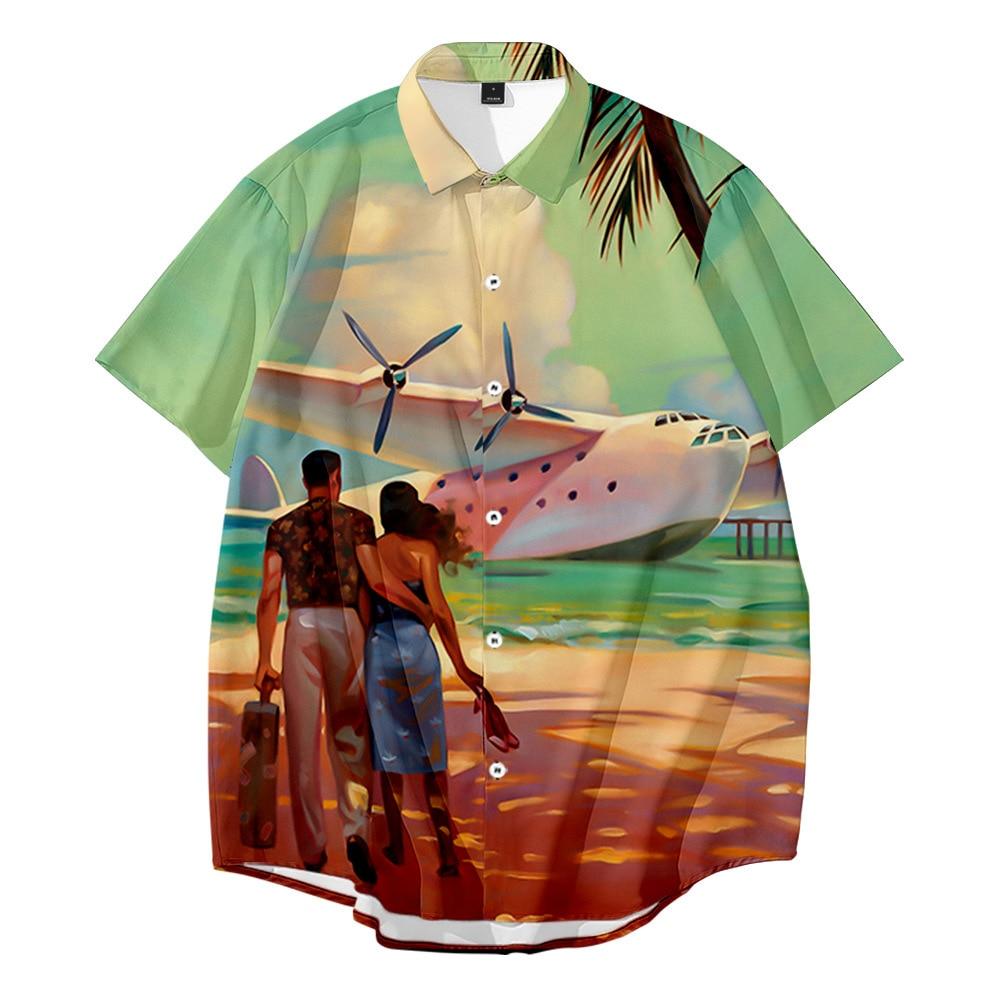 Summer Cardigan Short-Sleeved Shirts Large Size Paintings Digital Printed Mens Casual Beach Plus 6XL