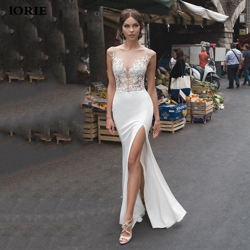 Lorie sereia vestidos de casamento 2020 laço lado dividir vestidos de casamento renda sem costas vestido de noiva noiva boho