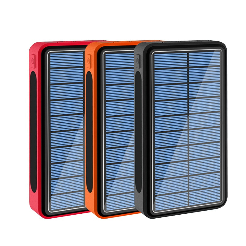 50000 mAh خزان طاقة يعمل بالطاقة الشمسية 4 USB نوع C Poverbank شاحن محمول شحن مع التخييم في الهواء الطلق مصباح يدوي 50000 mAh Powerbank