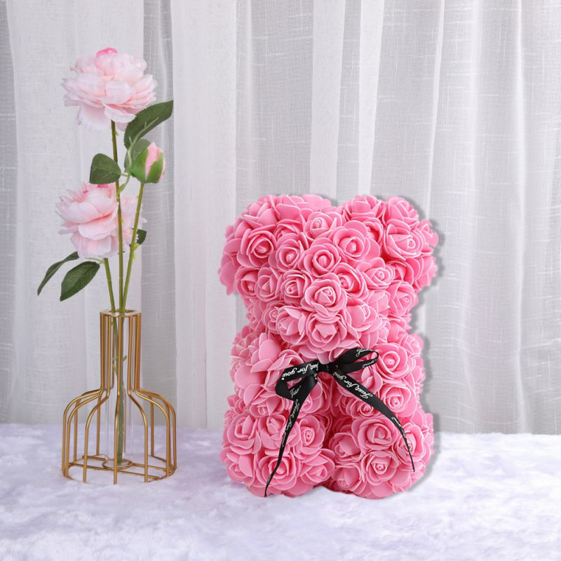 25 سنتيمتر الزهور الدب الوردي بوكيه ورد صناعي الدب ديكور حفلات الزواج رومانسية عيد الحب هدايا الوردي الأحمر دروبشيبينغ