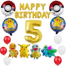 1set Pokemon Pikachu Foil Balloons Set 32inch Number Balloon Birthday Party Decoration Baby Shower K