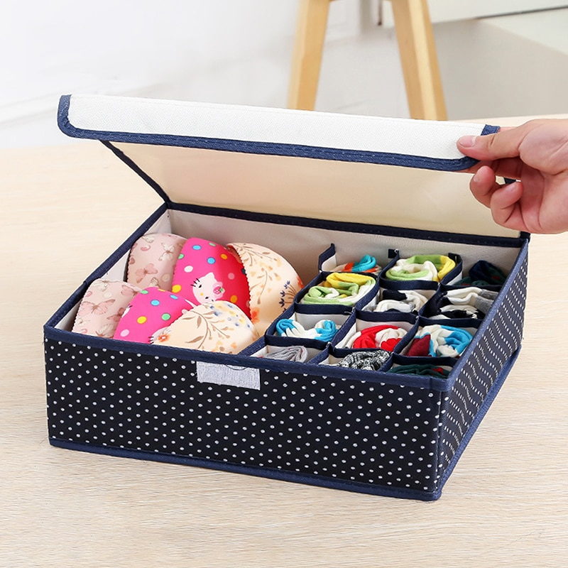 Underwear Storage Box with Cover Thickened Oxford Cloth Washable Folding Save Space Bra Organizing Tool 13/17 cells Dustproof