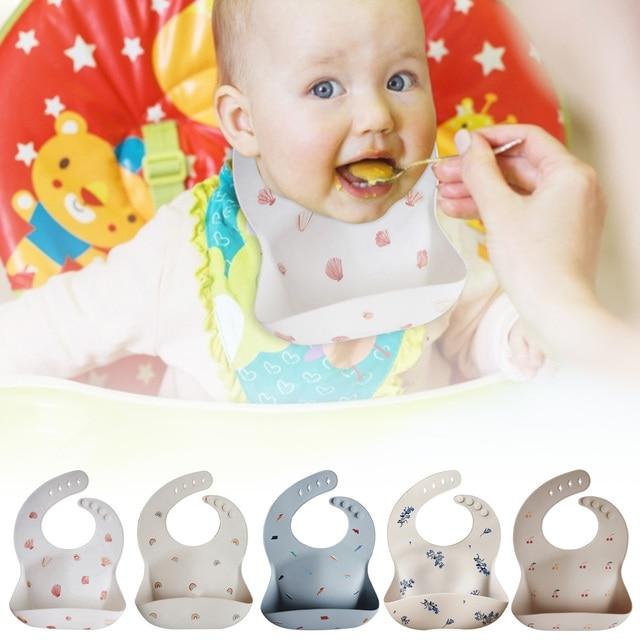 New Silicone Waterproof Baby Bibs Burp Cloths Toddler Kids Toddler Adjustable Wipeable Feeding Apron Saliva Bandana 5 Colors 2