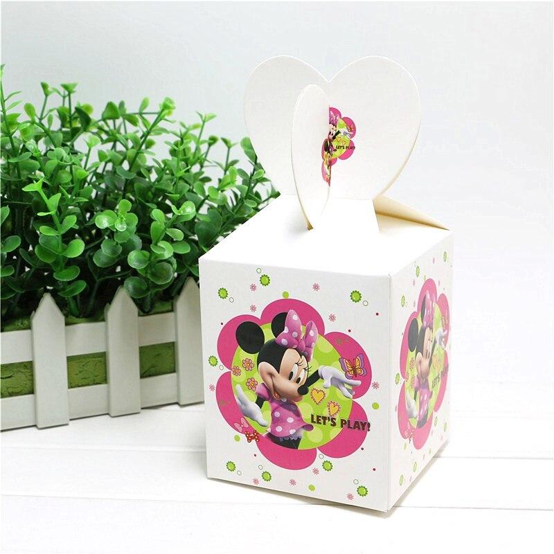 6 unids/lote temática de Minnie Mouse 18*8,5*8,5 cm tamaño caja de dulces para cumpleaños decoraciones navideñas Cajas de Regalo de dulces desechables