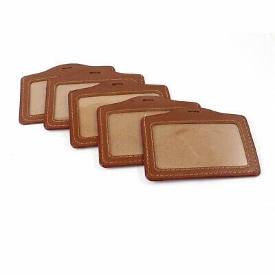 5 uds. Diseño Horizontal de cuero de imitación oficial ID Badge titular de la tarjeta marrón