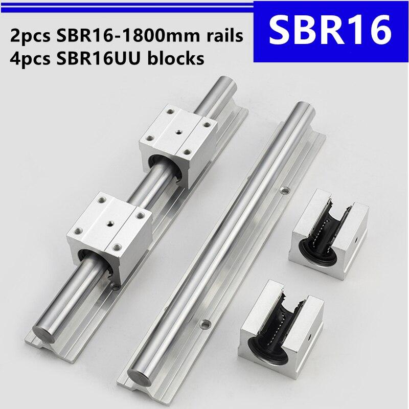 2 قطعة SBR16 -1800 مللي متر دليل خطي دعم السكك الحديدية و 4 قطعة SBR16UU الخطي تحمل كتل ل نك راوتر أجزاء