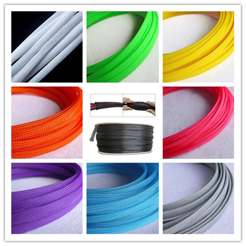 Reine farbe 5M 10M 100M Isolierte Braid Sleeving Engen HAUSTIER Draht Erweiterbar Kabel Hülse flammhemmende nylon geflochtene mesh rohr
