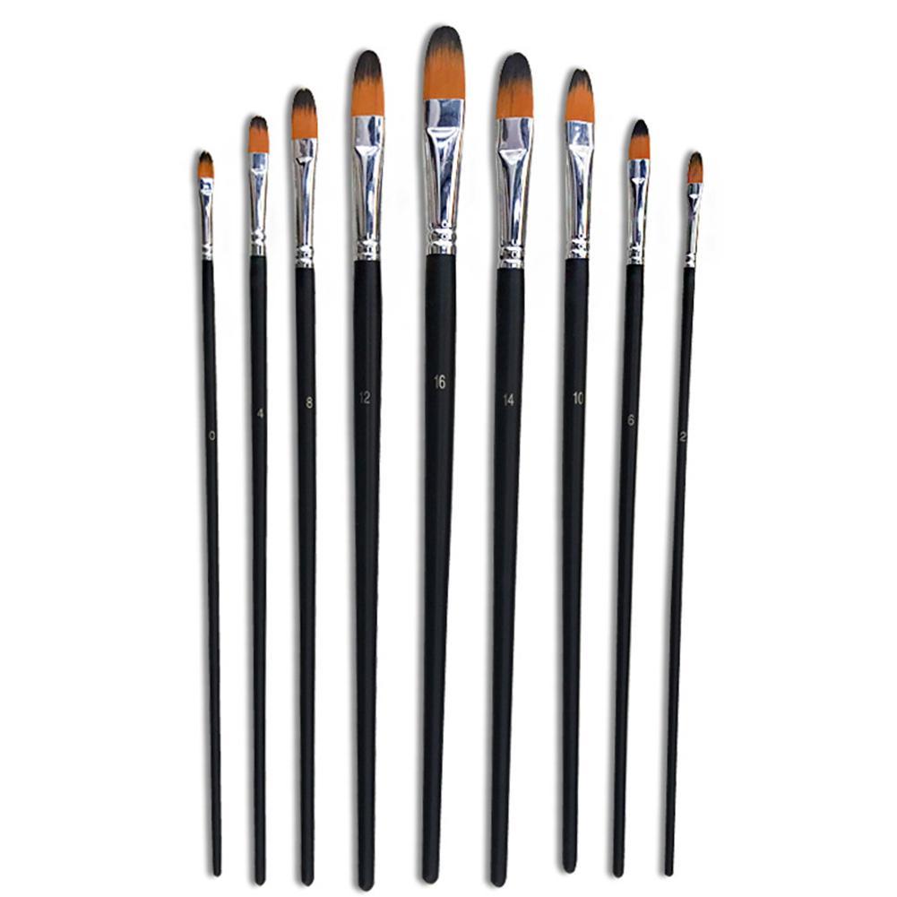 9PCS Paint Brush Nylon Hair Oil Painting Brushes Set Natural Painting Art Brushes Drawing Supplies
