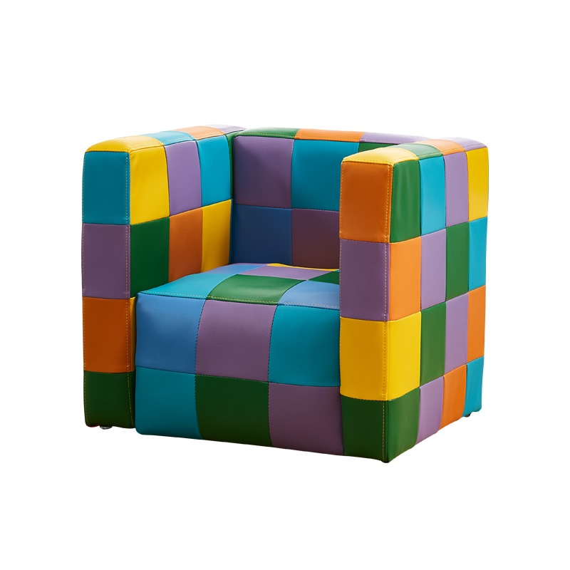 Children's sofa, baby's lovely PU leather sofa, single and double color matching lattice magic cube sofa, reading chair