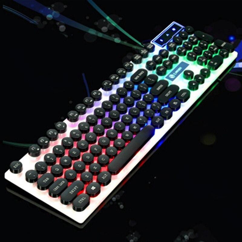 Teclado mecánico con cable de juegos por cable, interruptor rojo azul, 104 teclas, retroiluminado con LED ruso/estadounidense para ordenador portátil Gamer