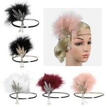 Newly Feather Rhinestone Headband Vintage Bead Headdress for Church Party Women Lady FIF66