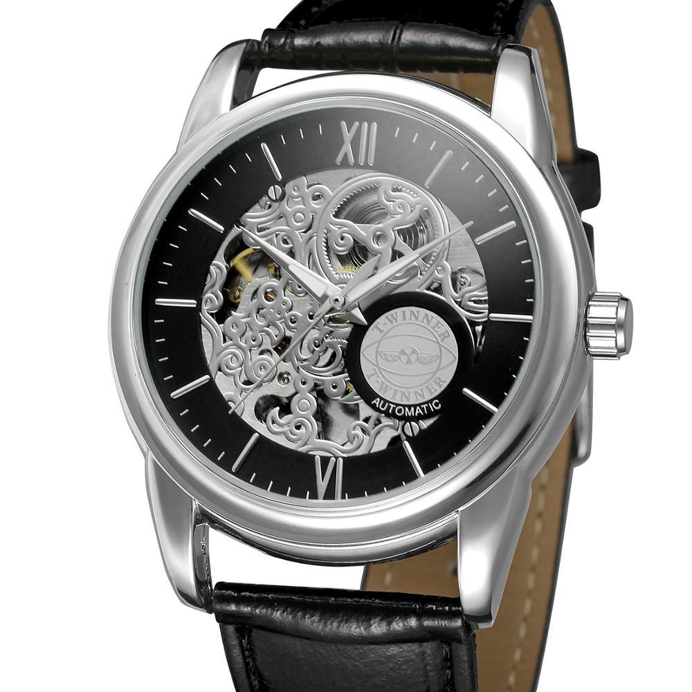 Tendência da Moda Pulseira de Couro Vencedor Casual Design Relógio Masculino Mostrador Preto Prata Case Mecânico Automático Oco