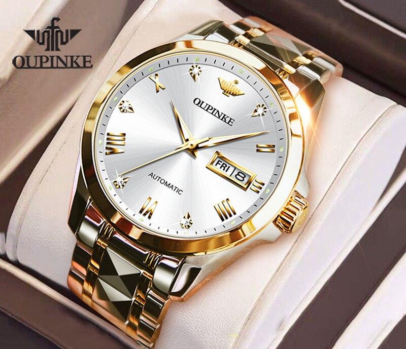 Оригинальные импортные мужские водонепроницаемые автоматические механические часы OUPINKE