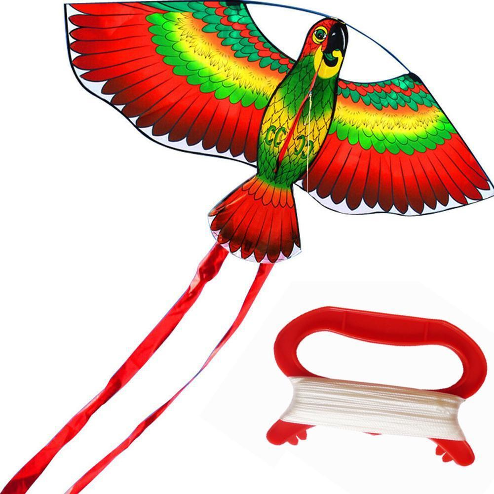 Rainbow Color Parrot Kite With String Plastic Handle Family Fun Outdoor Quality Toys Kites High Flyi