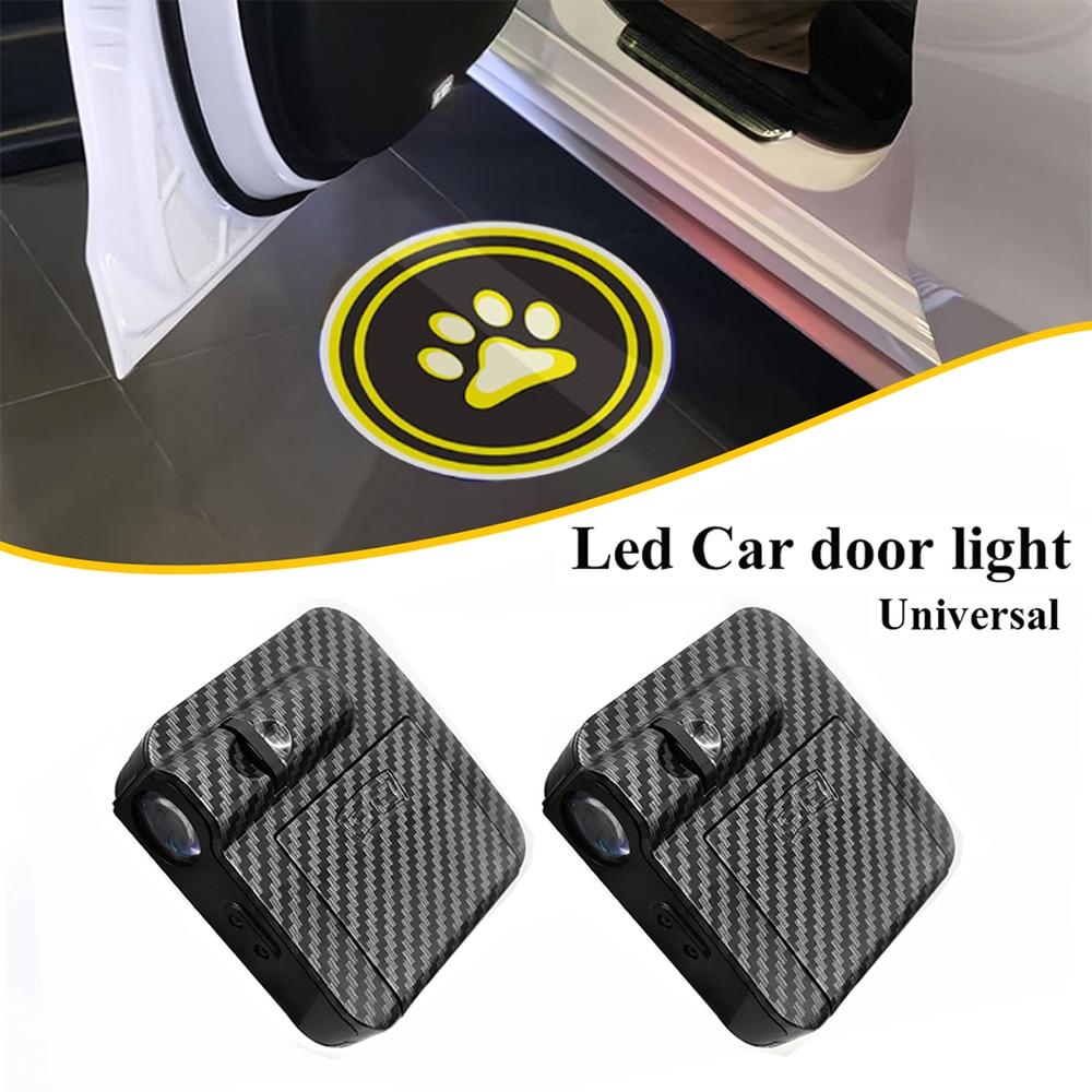 2 шт. универсальные автомобильные дверные фонари с логотипом приветственная лампа Беспроводная 3D Светодиодная Лазерная лампа из углеродно...