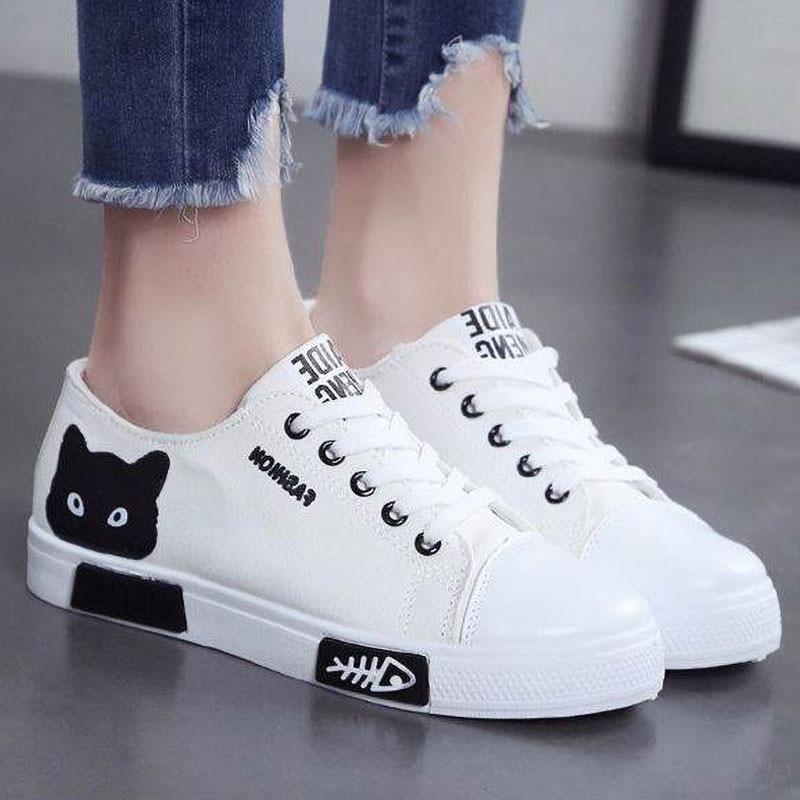 2020 New Women Vulcanize Shoes Casual Women Shoes  Fashion Sneakers Women Canvas Shoes Cartoon Ladies Shoes White Espadrilles