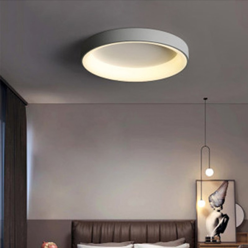 Circular creative iron bedroomNordic simple living roomstudy led ceiling lamp