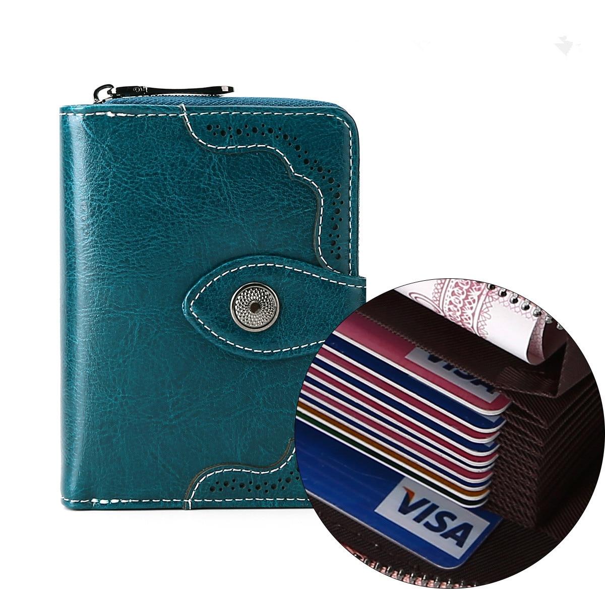 جديد جلد السيدات محفظة صغيرة اثنين أضعاف السيدات سستة الرجعية الشمع محفظة نسائية للعملات المعدنية حامل بطاقة