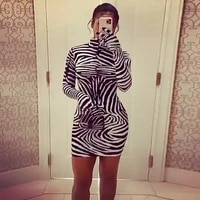 ladies casual dress womens clothing new autumn and winter 2021 new printed slim fit slimming high collar dress for women