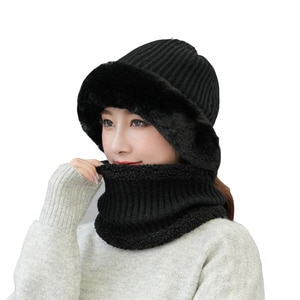Women's Winter Hat scarf Knitted Wool Beanie Female Fashion Skullies Casual Outdoor Mask Ski Caps Thick Warm Hats Set for Women