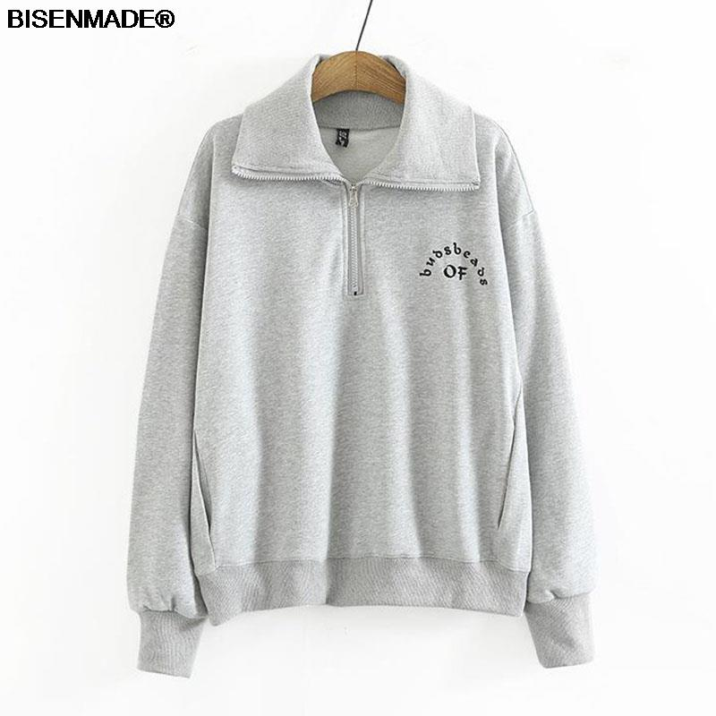 Women Clothing Sweatshirts Plus Size 2021 Autumn Winter Hoodies New Casual Letters Embroidery Lapel Long Sleeve Tops
