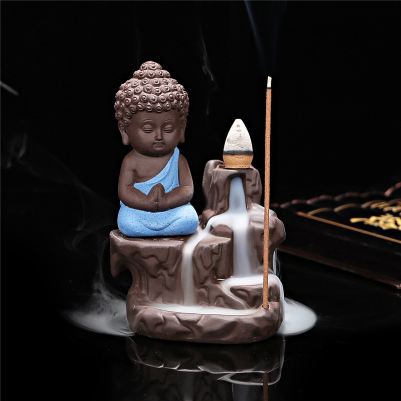 Hot sell cheap buddha ceramic incense burner censer holder set with joss sticks home decoration living room bedroom office decor