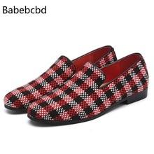 Station européenne mode haricot chaussures hommes nouvel ensemble de pieds chaussures couleur correspondant Plaid marée chaussures Taobao une génération de cheveux
