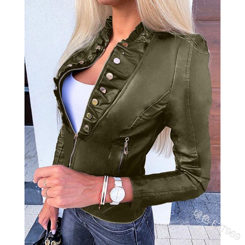 Повседневная мотоциклетная куртка WEPBEL из искусственной кожи, женская короткая приталенная куртка из искусственной кожи на пуговицах с кар...