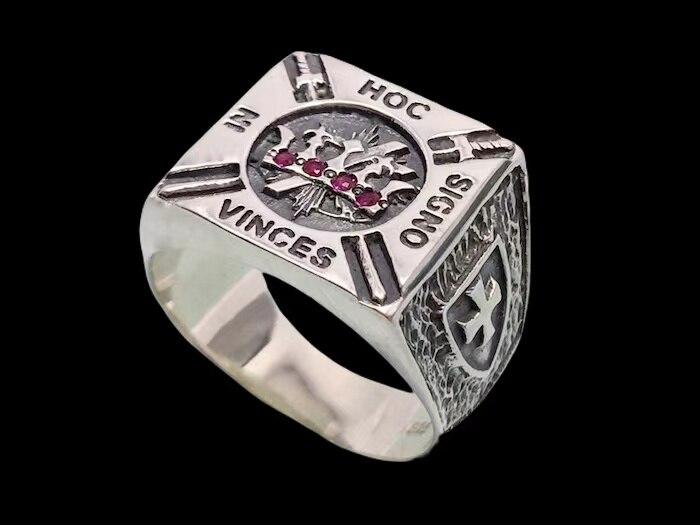 Прямая поставка от производителя; Бесплатная доставка новых Рыцари кольцо тамплиера Нержавеющаясталь с камнями масонские ручной работы ю...