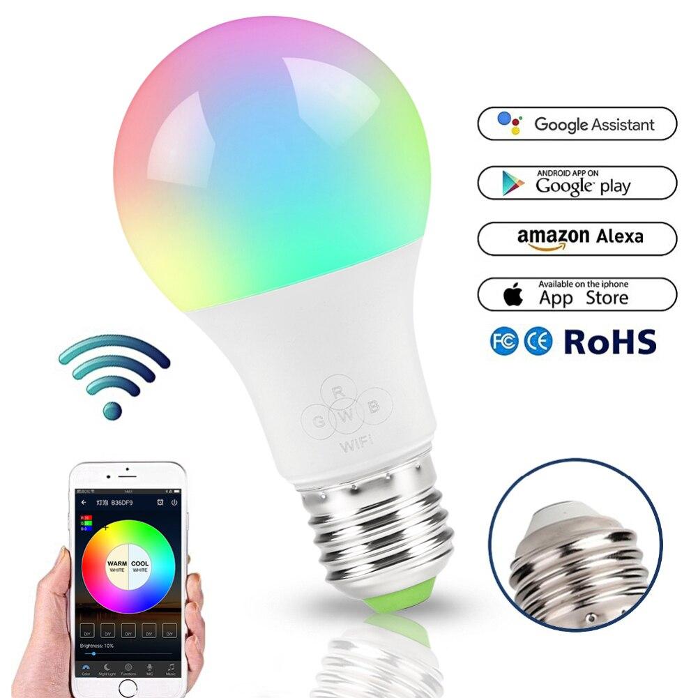Lámpara Led inteligente con WIFI, Bombilla RGB regulable de 4,5 W/6,5 W E27 Bombilla LED, funciona con el Control de aplicación remota de Alexa y Google Home