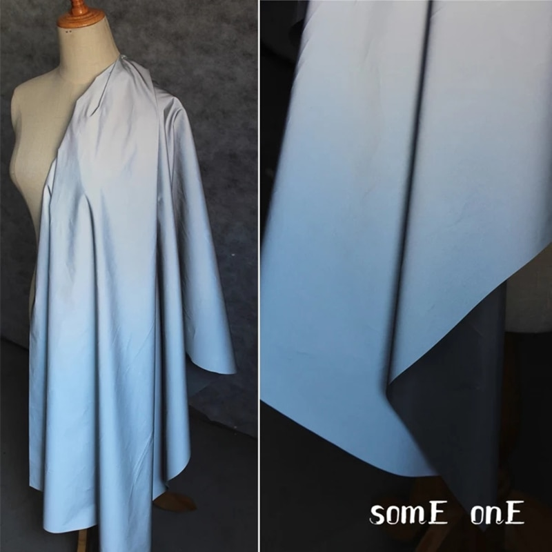 Tela reflectante degradado en azul, color plata brillante, alerta de seguridad, abrigo DIY, ropa deportiva, fondo, tela luminosa de diseñador, 50*100cm