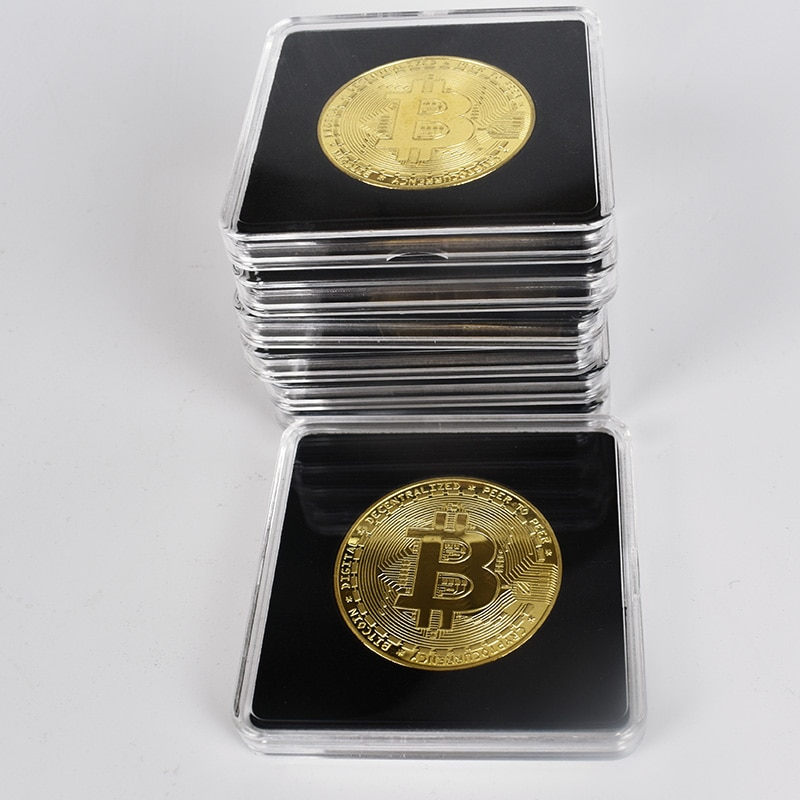 40mm Gold Bitcoin Coin with Acrylic Square Case Litecoin Eth XRP Doge IOTA Cardano ADA FIL Shiba Cryptocurrency Metal coin