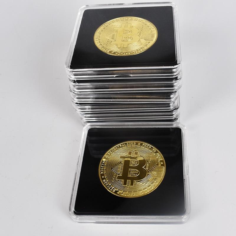 Moneda de Bitcoin de oro de 40mm con caja cuadrada acrílica Litecoin Eth XRP Moneda de Metal de criptomoneda