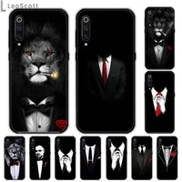 man suit shirt lion tie smoke phone case for samsung galaxy m10 20 30 a 40 50 70 71 6s a2 a6 a9 2018 j7 core plus star s10 5g c8