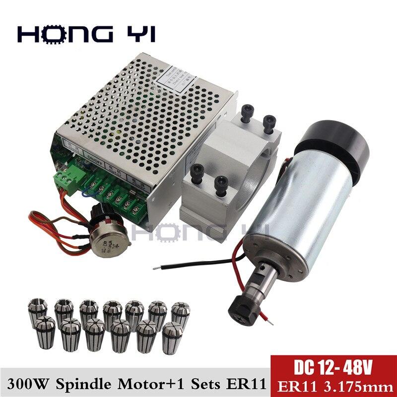 Envío Gratis motor de husillo de 300w CC + abrazadera de 52 mm (enviar cuatro tornillos) + regulador de potencia + 13 Uds ER11 collet para PCB