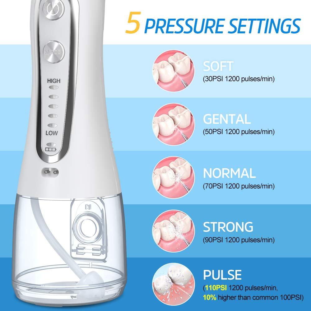 Monddouche 5 Modi Draagbare 300Ml Dental Water Flosser Jet Usb Oplaadbare Monddouche Dental Floss Water Tips Tanden Schoner enlarge