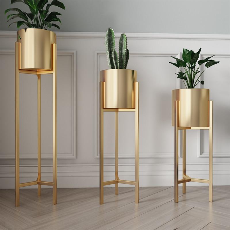 Soporte de maceta de Flor de Oro Simple moderno nórdico soporte de flor de hierro sala de estar creativo verde Dill flor estante de piso Ins