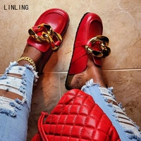 2021 New Women Big Chain Slippers Female Fashion Clog Flat Ladies Shoes Woman Summer Beach Slides Leather Sandalias Plus Size