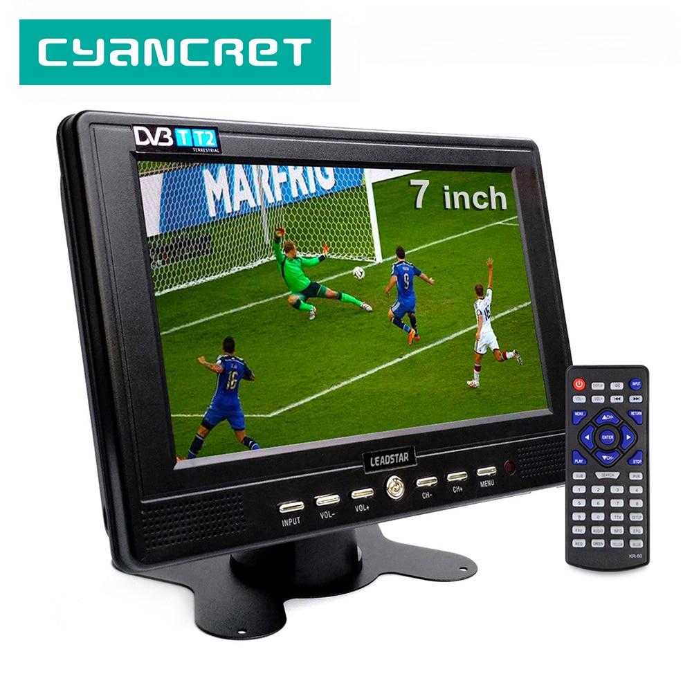 LEADSTAR D768 7 بوصة المحمولة التلفزيون DVB-T2 ATSC tdt الرقمية والتناظرية مصغرة صغيرة سيارة التلفزيون التلفزيون دعم USB TF MP4 H.265 AC3