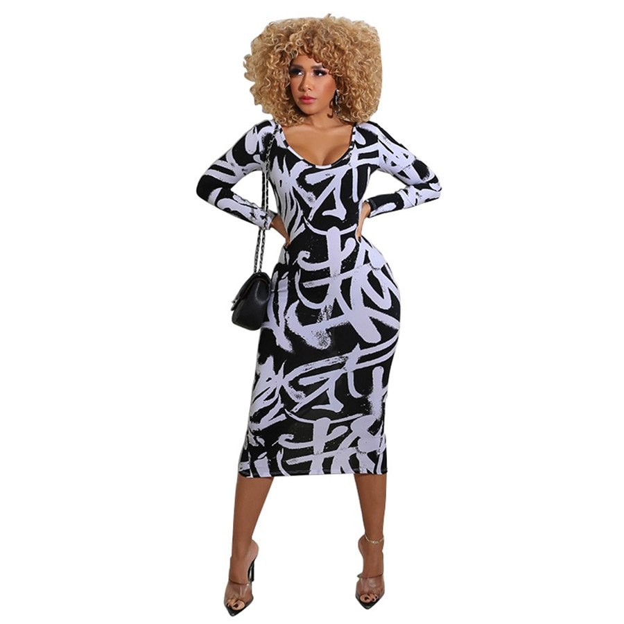 Women Sexy Plus Size Bodycon Mid-calf Dress Long Sleeve Black Printed Summer Fashion Oversized Night Party Club Dresses L-5XL 5xl plus size sexy dress pullover bodycon casual fashion female autumn spring home clothes long oversized dresses indian new