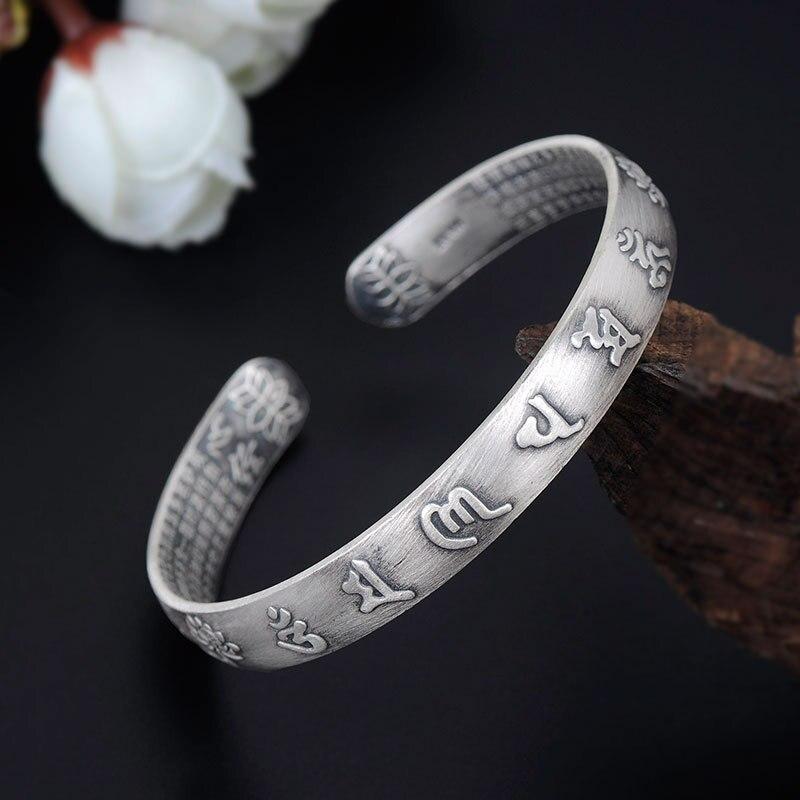 Pulseras de plata de ley S990, brazaletes de loto sutra del Corazón budismo Vintage, brazalete Mantra de la gran compasión, brazalete de seis palabras