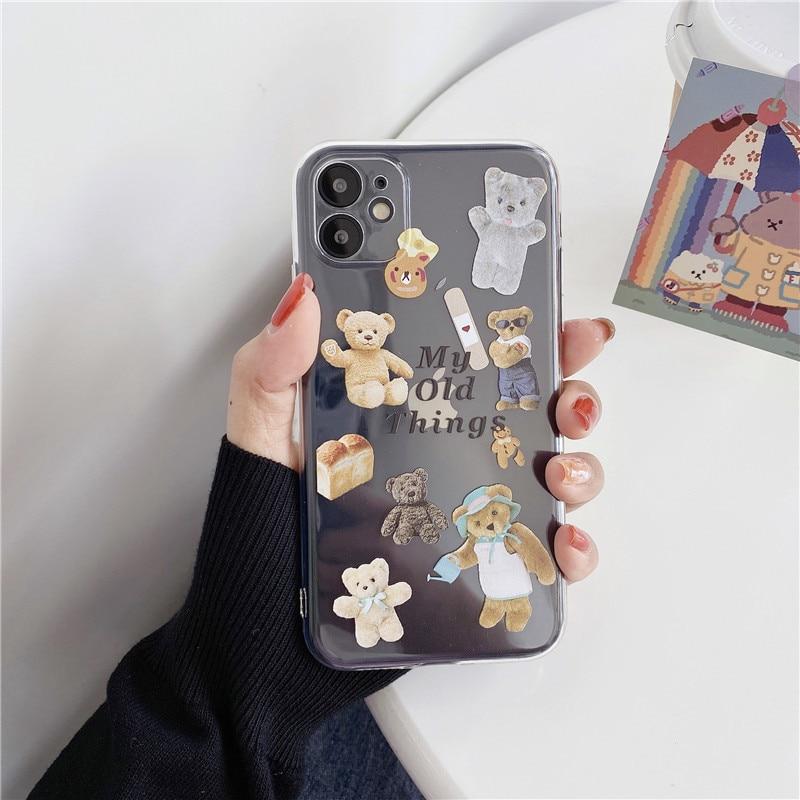 Funda de lujo GYKZ para teléfono con etiqueta de oso de juguete transparente para iPhone XS MAX 11 Pro SE 2020 7 XR X 8 6Plus bonita funda trasera de silicona suave