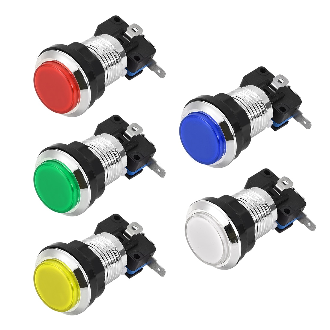 Uxcell 1/5/6 шт игровой кнопочный переключатель 33 мм круглый 12 в светодиодный с подсветкой с микро-переключателем для аркадных видеоигр